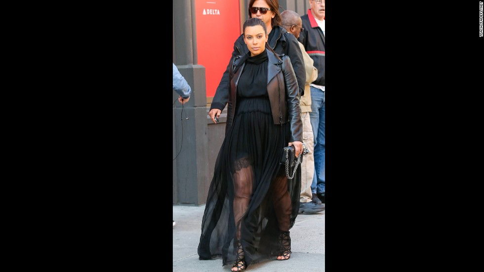 Kim Kardashian wears a gauzy gown in May.