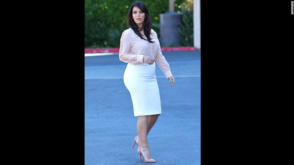 Kim Kardashian shows off her business look in March.