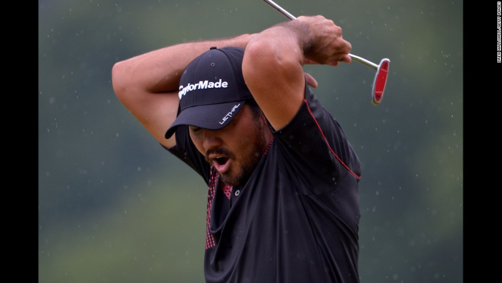 Jason Day reacts to his missed putt for birdie on the 15th hole on June 16.