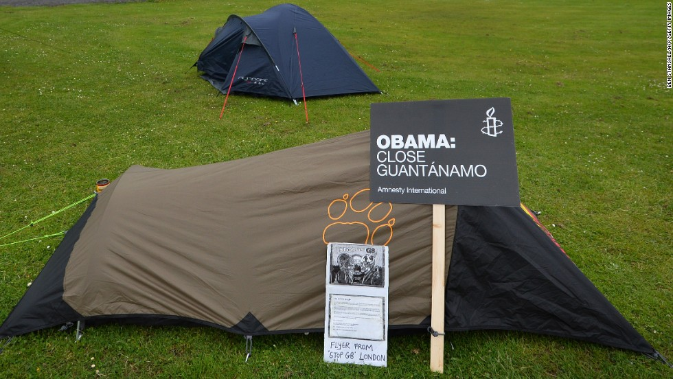 Tents for a small group of anti-G8 protesters are set up on a playing field in Enniskillen on Sunday, June 16.
