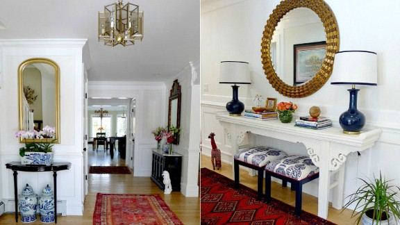 Linda Weinstein of northern New Jersey loves the sophistication that the chinoiserie pieces bring to her foyer.