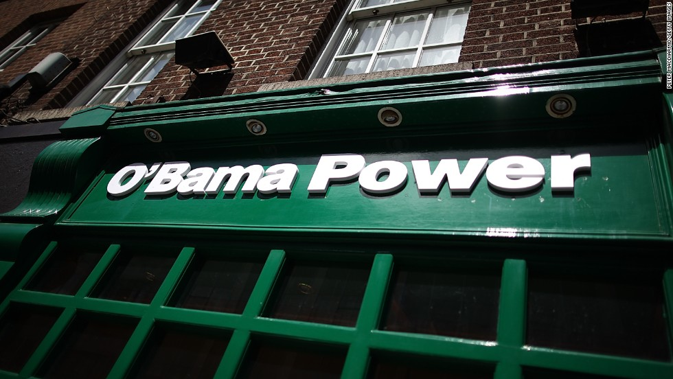 Paddy Power bookmakers in Dublin changes its name for Obama's visit in May 2011.