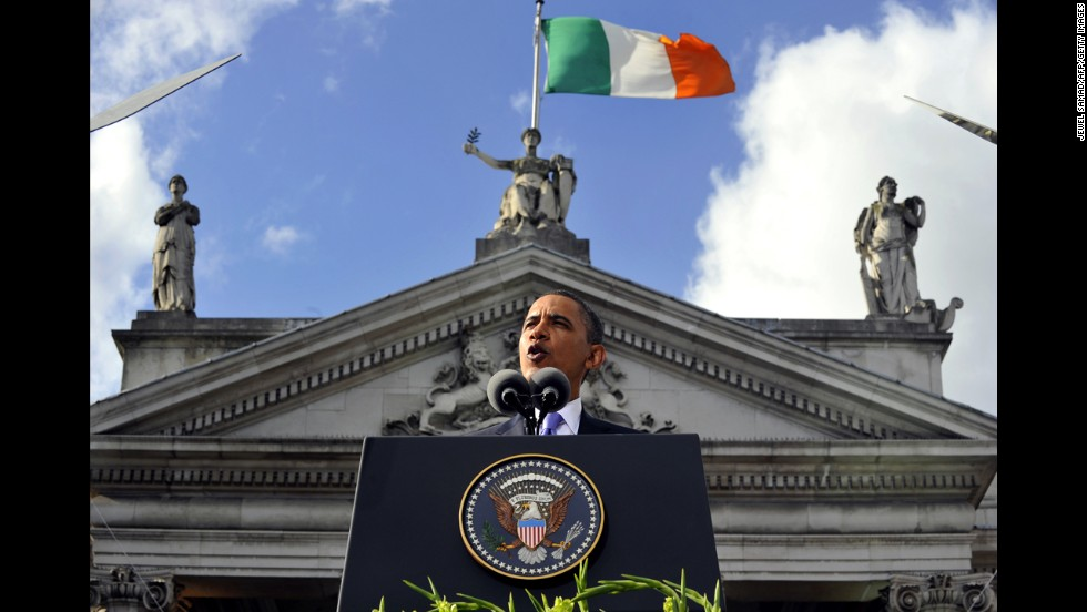 Obama speaks at an Irish celebration in Dublin on May 23, 2011.
