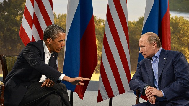US President Barack Obama (L) holds a bilateral meeting with Russian President Vladimir Putin during the G8 summit at the Lough Erne resort near Enniskillen in Northern Ireland, on June 17, 2013. The conflict in Syria was set to dominate the G8 summit starting in Northern Ireland on Monday, with Western leaders upping pressure on Russia to back away from its support for President Bashar al-Assad. AFP PHOTO / JEWEL SAMADJEWEL SAMAD/AFP/Getty Images