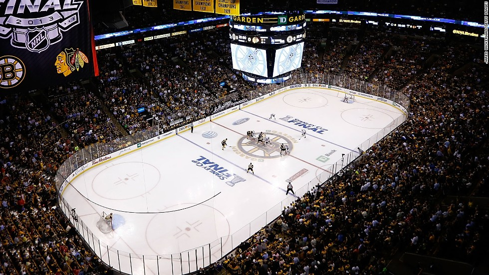 The Boston Bruins and the Chicago Blackhawks face off during Game 3.