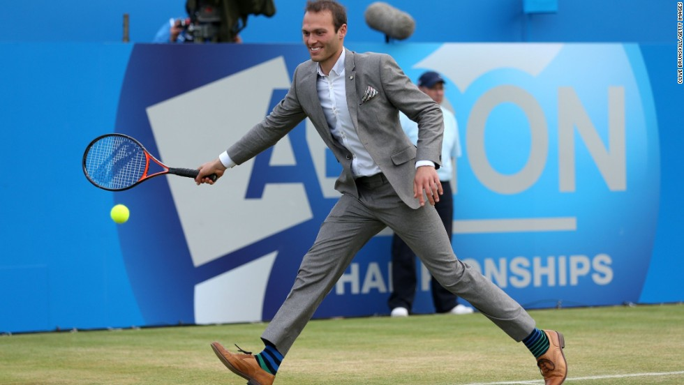 Hutchins took to the court during the Rally Against Cancer charity match at June's AEGON Championships at Queen's Club.