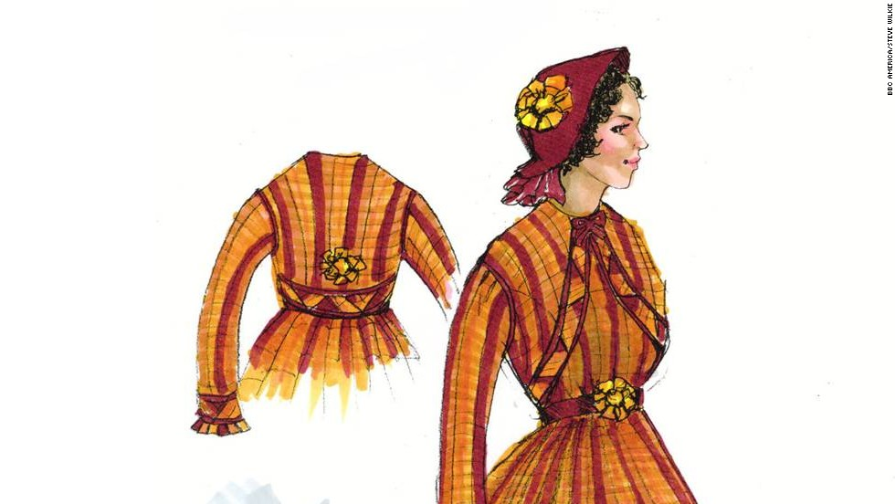 "It's all about the details. From ruching and pleating to distressing fabric and lacing corsets, the ""Copper"" costuming team has its hands full. Concepts like this elaborate gown for character Sara Freeman go from sketch to reality every week."