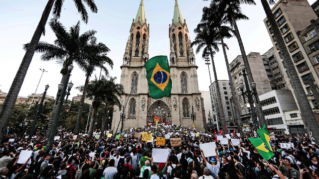 Protests remain mostly festive in Brazil