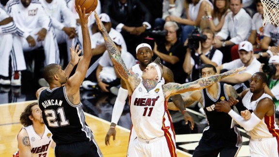 Tim Duncan of the San Antonio Spurs shoots over Chris Andersen of the Miami Heat during Game 6.