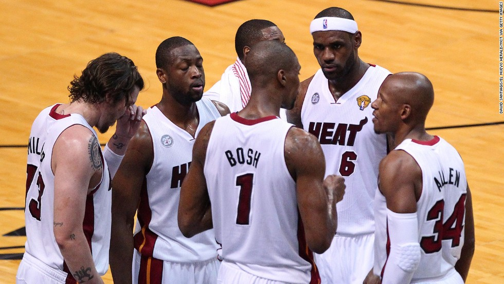 The Miami Heat regroup during a pause in play against the San Antonio Spurs in Game 6.