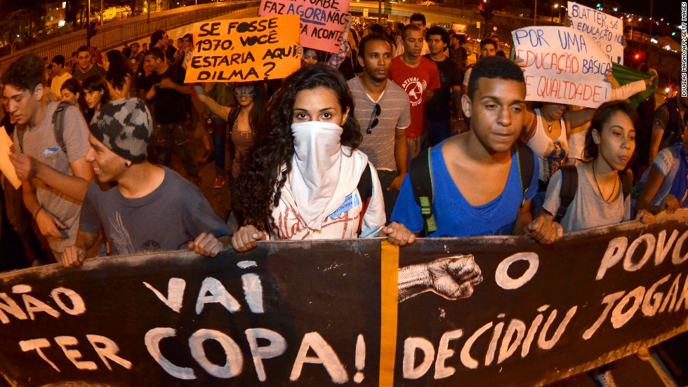 Last June, people took to the streets in Belo Horizonte in the state of Minas Gerais to protest against the costs of hosting the World Cup.