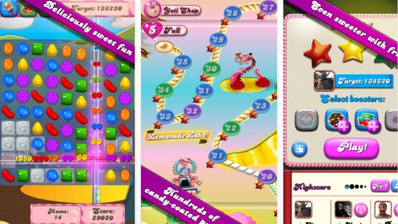 """Candy Crush"" is an extremely popular mobile game on Apple and Android platforms."