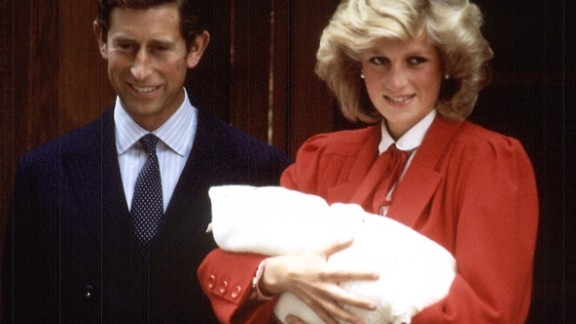 Prince Charles and Princess Diana appeared outside the Lindo Wing following the birth of Prince Harry in September 1984.