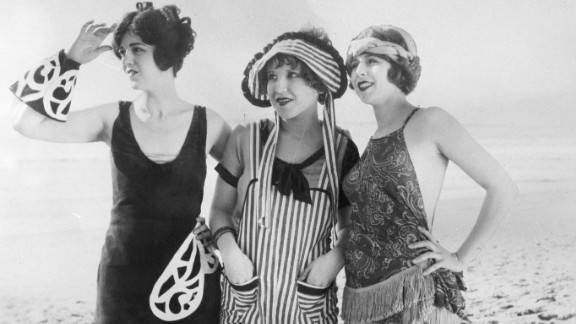 """Hollywood helped glamorize bathing suits as early as 1925, with Keystone Studios' """"Sennett Bathing Beauties,"""" whose bathing suits were considered provocative."""