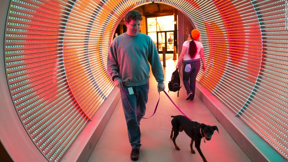 This gallery offers a look inside tech companies' striking offices: A 'time tunnel' at Zynga, featuring programmable LED lights, leads from the entrance to the office space.