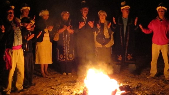 """The Uluu Ot, or Sacred Fire, has been remembered in Kyrgyz oral storytelling for 40,000 years. The Uluu Ot was rekindled in Kyrgyzstan on the summer solstice of 2010, attended by traditional cultural practitioners representing the Central Asian migration out of Africa,"" says iReporter Maryka Ives Paquette"