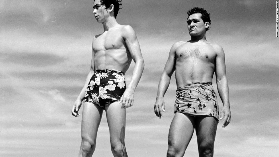 6727135bfda Swimmers in Acapulco, Mexico, show off Hawaiian print swimming trunks in  1950.