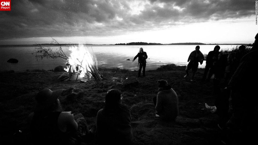 "In Finland the midsummer celebrations are called 'Juhannus'. ""Lots of people- friends and family- gather together somewhere near water and set up a huge bonfire called ""Kokko"" and usually drink lots of alcohol and go to the sauna. That's just somehow the Finnish thing,"" says 24-year-old <a href=""http://www.meom.fi/"" target=""_blank"">Tom Rantala</a> who took this photo during midsummer celebrations in 2011."