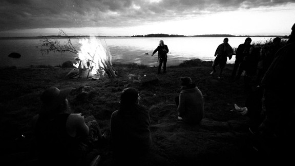 "In Finland the midsummer celebrations are called 'Juhannus'. ""Lots of people- friends and family- gather together somewhere near water and set up a huge bonfire called ""Kokko"" and usually drink lots of alcohol and go to the sauna. That's just somehow the Finnish thing,"" says 24-year-old Tom Rantala who took this photo during midsummer celebrations in 2011."