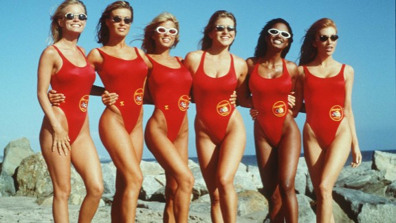 """The leggy lifeguards on the television show """"Baywatch"""" made these tank-style one-piece bathing suits a staple of 1990s television."""