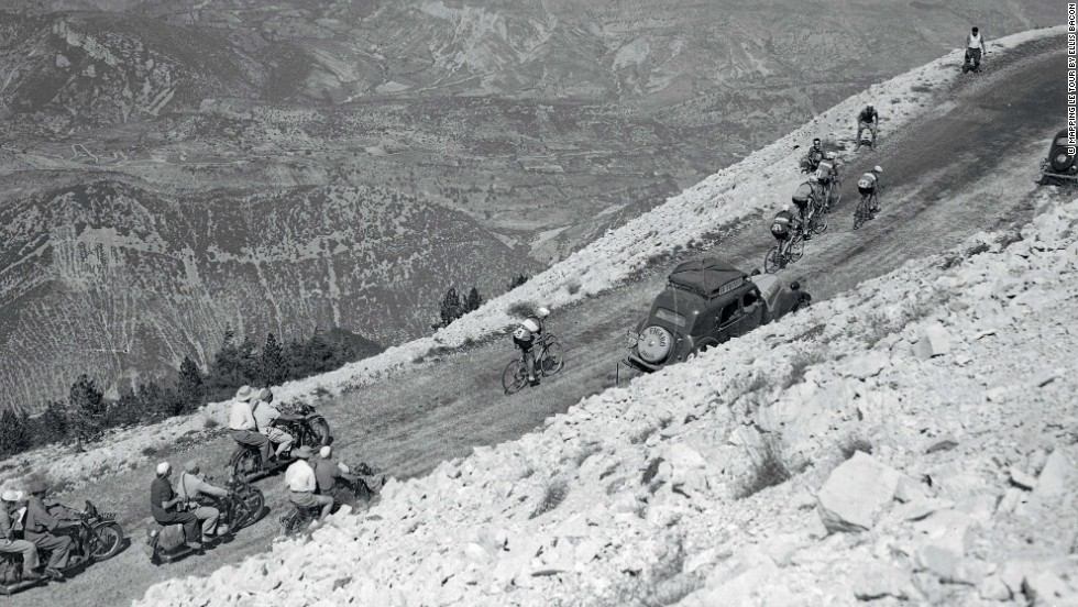 Riders tackle the infamous Mont Ventoux climb for the first time during the 1951 race.