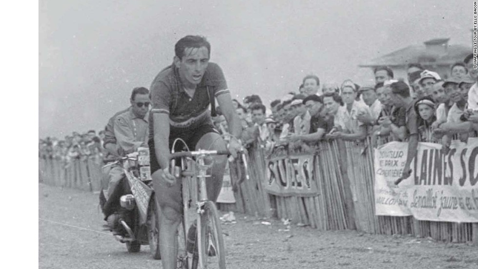 Legendary Italian cyclist Fausto Coppi claimed the Tour de France twice and won the stage to Alpe d'Huez in superb style in 1952 to clinch his second truimph.