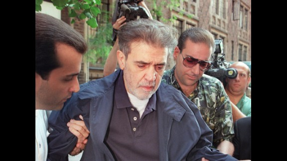 """Vinny """"The Chin"""" Gigante, shown here in 1997 while on trial in New York. Before his conviction for murder conspiracy and labor racketeering, Gigante was famous for mumbling to himself while walking the streets of Manhattan in a bathrobe. In 2003, he pleaded guilty to obstruction of justice charges for false claims of mental illness."""