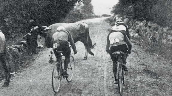 Riders tackle the first Pyrenean climb -- the Col de Portet d