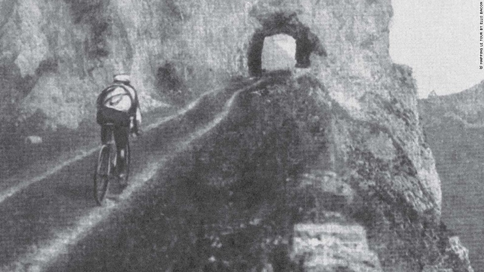 Eventual 1911 winner Gustave Garrigou of France in action on a stage in the Alps on the way to his eventual victory.