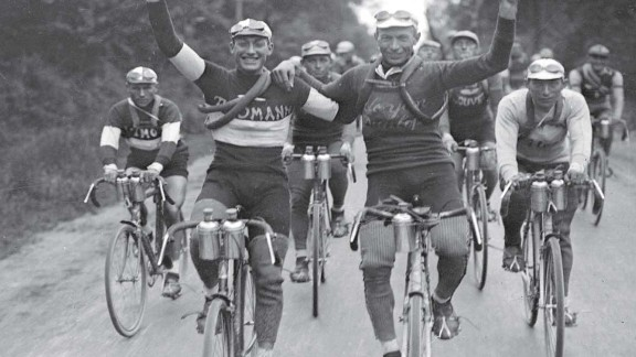 1927 winner Nicolas Frantz of Luxembourg (right) is congratulated by Andre Leducq. It was the 21st edition and coming of age for the famous race.