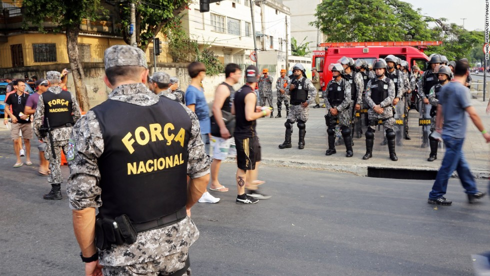 There was a heavy police presence on the streets in Rio before the match in response to the ongoing protests in Brazil.