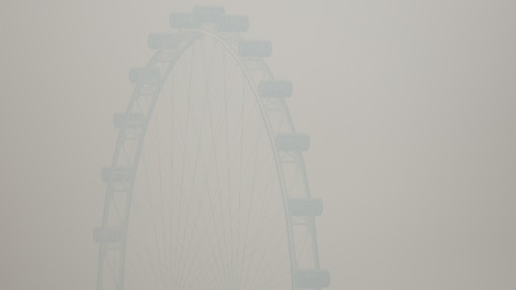 The Singapore Flyer ferris wheel was barely visible through the smoke haze on June 20.  That day, the country