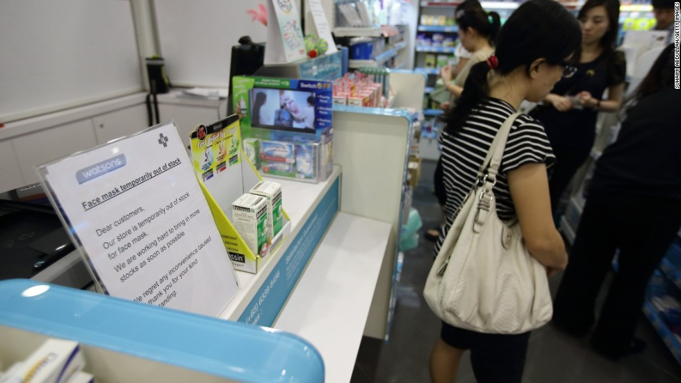 A local pharmacy put up an out-of-stock notice for face masks on June 20.