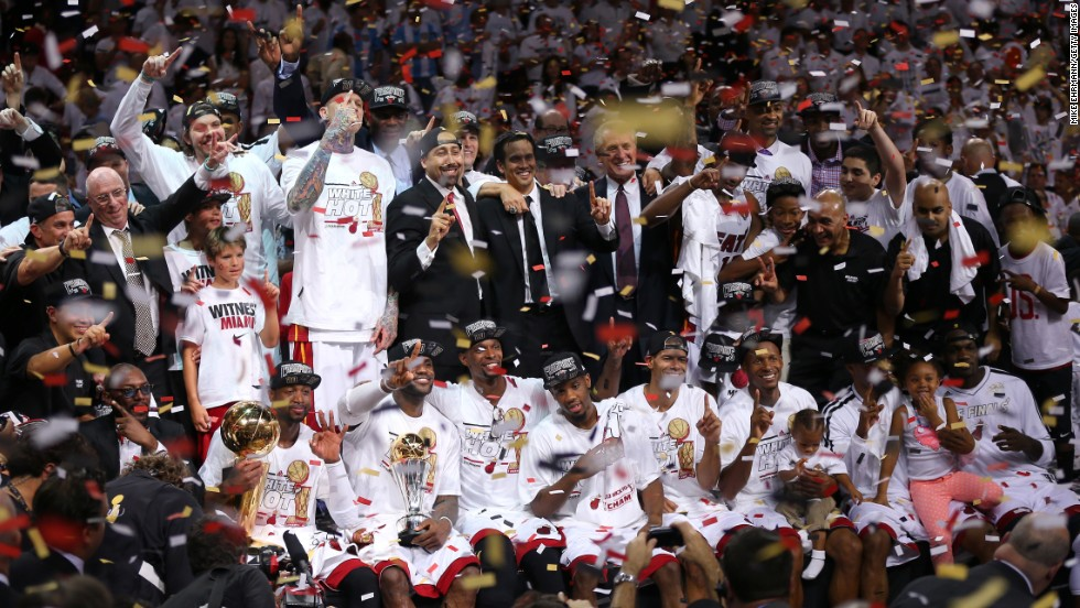 Tthe Miami Heat celebrate after defeating the San Antonio Spurs 95-88 to win Game 7 of the 2013 NBA Finals at AmericanAirlines Arena on June 20, in Miami, Florida.