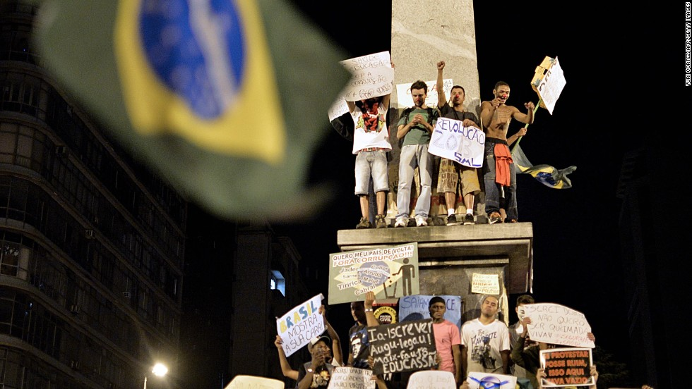 Brazilians protest against price hikes in Belo Horizonte on June 20.