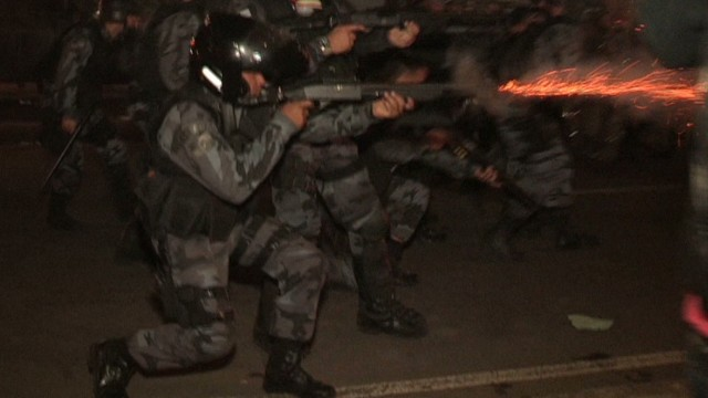 Shocking video shows Brazil clashes