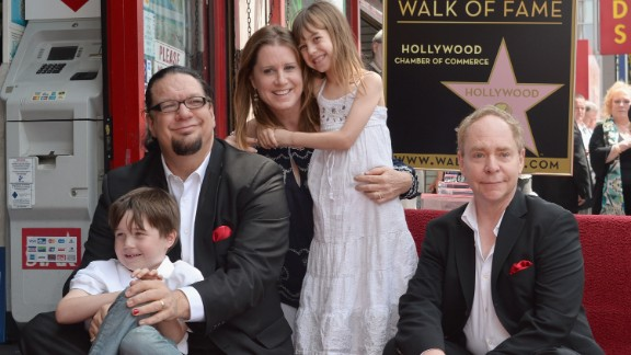 We suppose magician Penn Jillette, seen here with his family and magic partner Teller in April 2013, really wanted magical names for his kids. His son