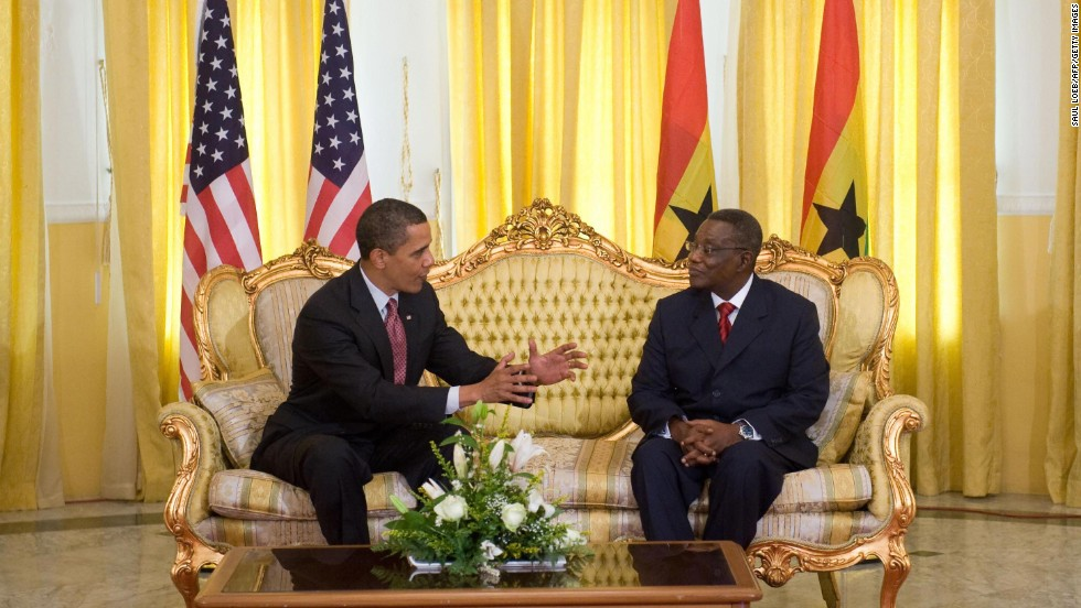 President Barack Obama is visiting Senegal, South Africa and Tanzania, from June 26 to July 3. Its his first trip to Africa since visiting Ghana in July 2009.<br />He is pictured speaking with then Ghanaian President, the late John Atta-Mills, in Accra, Ghana, on July 11, 2009.