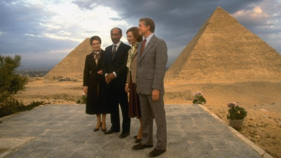 Left to right, President Jimmy Carter and wife Rosalynn, Egyptian President Anwar Sadat and wife pose in front of the Giza pyramids in Egypt, in March 1979.