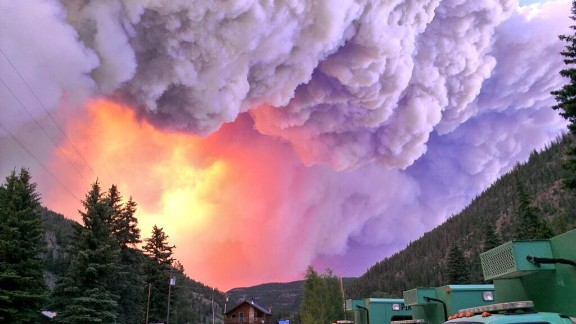 A photo taken by the Pike Interagency Hotshot Crew shows the West Fork Fire Complex, made up of the West Fork Fire and Windy Pass Fire, burning 15 miles north of Pagosa Springs, Colorado, on Thursday, June 20.