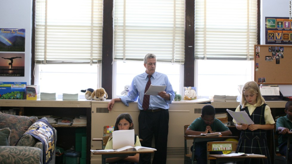 "Students studying a classical curriculum participate in a lesson at St. Jerome Academy. ""We're equipping young minds and hearts to save civilization itself,"" said Mary Pat Donoghue, St. Jerome's principal."
