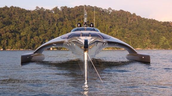 It might look like a a mixture between a spaceship and the Concorde, but this futuristic vessel is in fact the award-winning superyacht Adastra.
