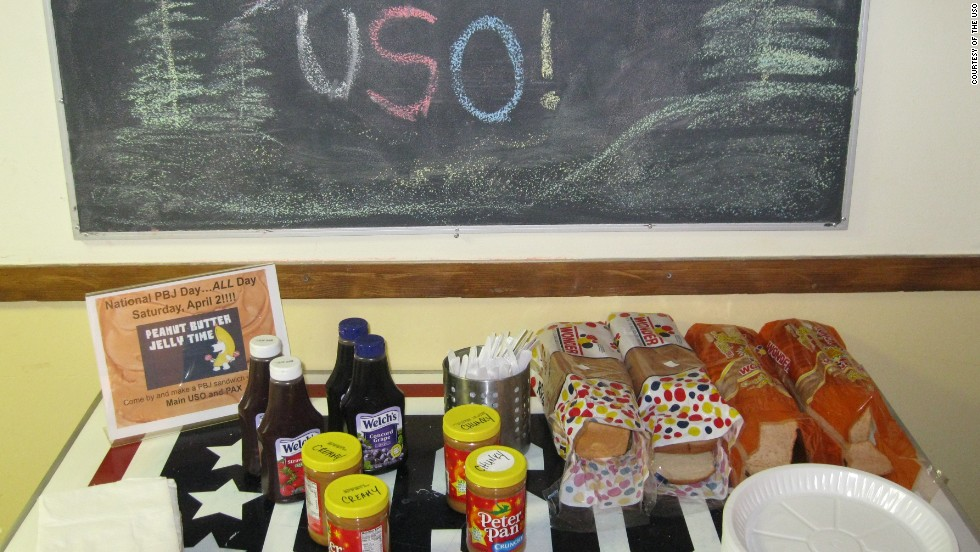 The USO facilitated a 'PB&J Day' for troops at the Afghanistan base.