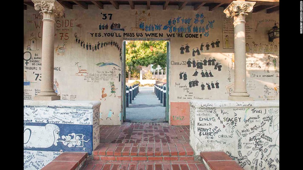 Students graduating from Scripps College -- a private, all-women liberal arts school in Claremont, California -- have added to a mural on campus since 1931, the first year students graduated from Scripps.