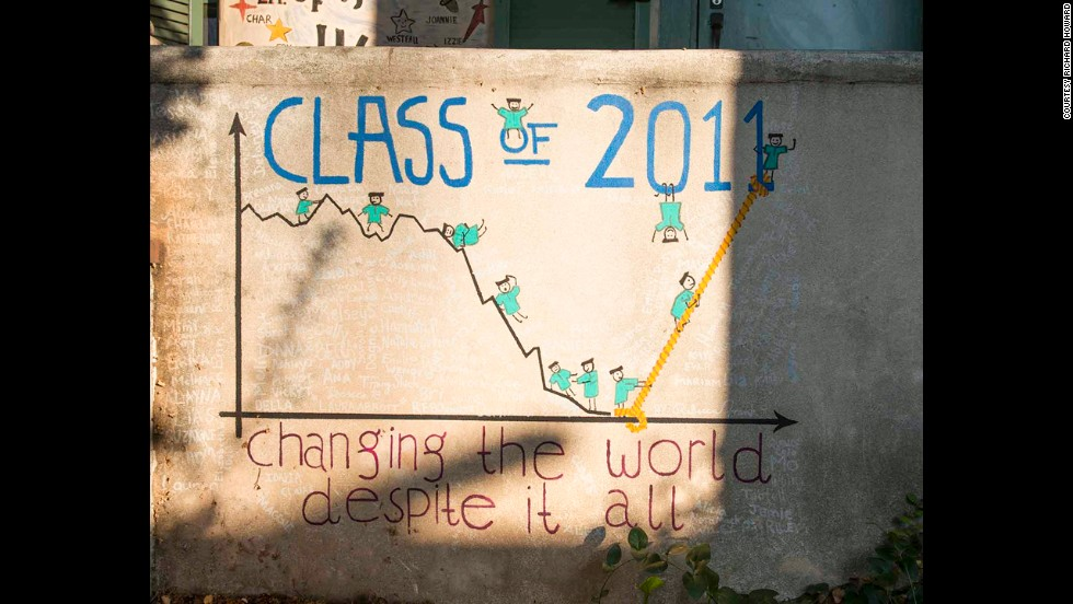 The design of the class of 2011 reflected the tough economic times the country faced during the students' college years.