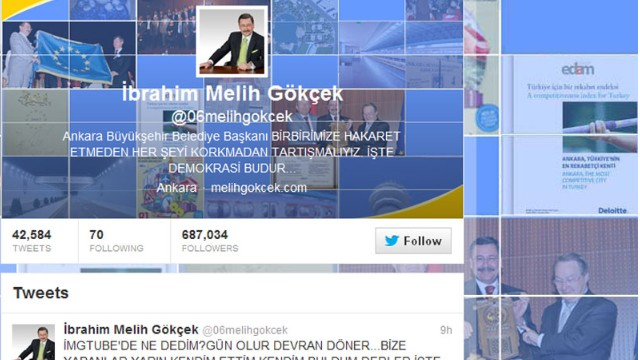 A detail from Melih Gokcek's Twitter page.