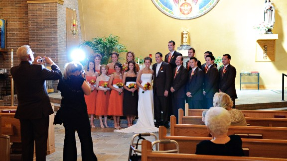 When more than one person is taking pictures of the wedding party, eyes go all over the place, wedding photographer Corey Ann Balazowich said. In this image, everyone kept glancing over Balazowich