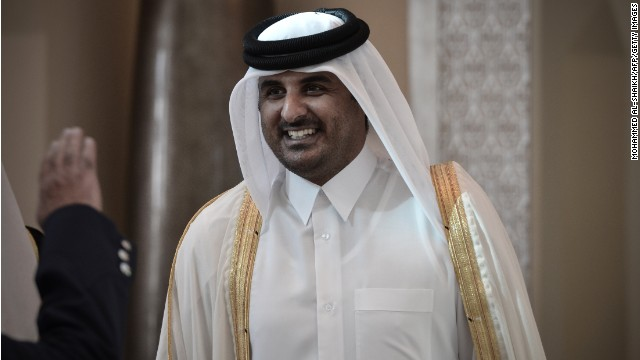 Qatari Crown Prince Sheikh Tamim bin Hamad al-Thani smiles as he arrives in the Bahraini capital of Manama, on December 24, 2012, to attend the annual Gulf Cooperation Council (GCC) summit.