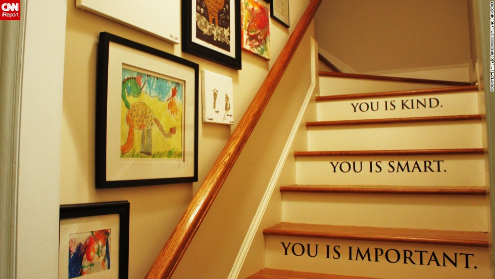 "<a href=""http://ireport.cnn.com/docs/DOC-991017"">Emily Clark's </a>home in Charlotte, North Carolina, has a back staircase which she decorated in a way that communicates love and pride to her children."