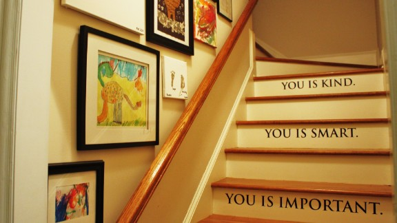 Emily Clark's home in Charlotte, North Carolina, has a back staircase which she decorated in a way that communicates love and pride to her children.